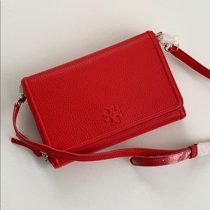 Tory Burch Thea Crossbody Leather Wallet Red NEW